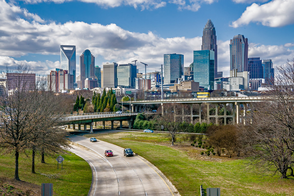 charlotte north carolina city skyline and street scenes