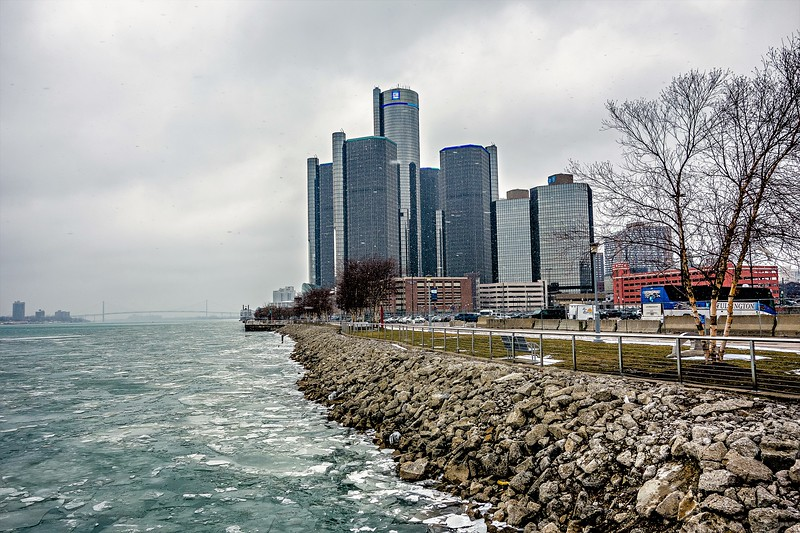 detroit city downtown during winter