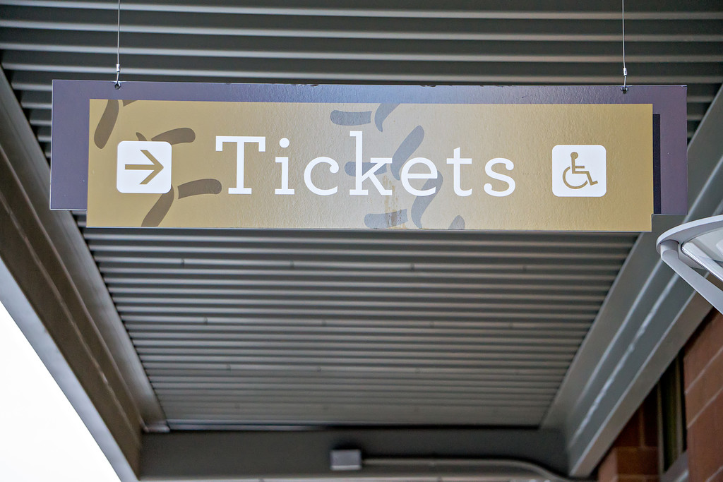 ticket sign hanging from canopy