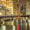 chicago illinois tilt effect cityscape at night