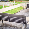 modern bench in romare bearden park charlotte nc