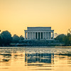 llincoln memorial at sunset and reflection in pool