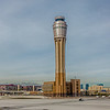 mccarran airport and las vegas skyline in nevada desert