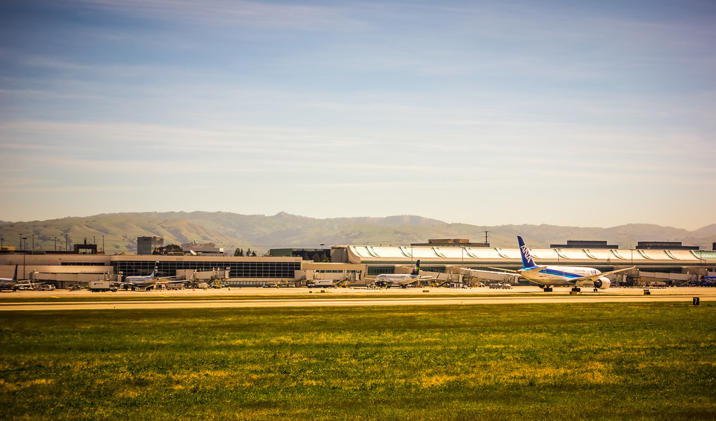 May 2017 San Jose California  - daytime scenes around san jose international airport