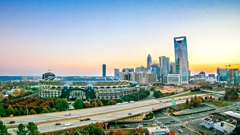 early morning sunrise over charlotte nc