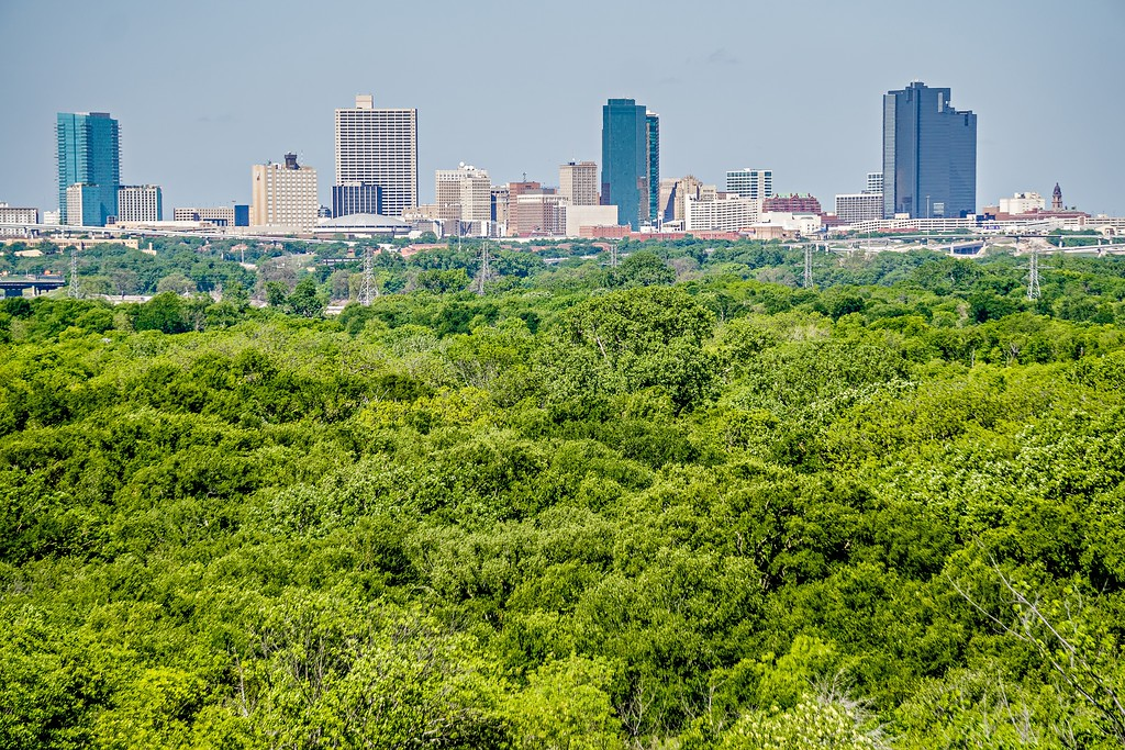 fort worth texas city skyline in a distance