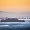 alcatraz prison island seen in san francisco bay at sunrise