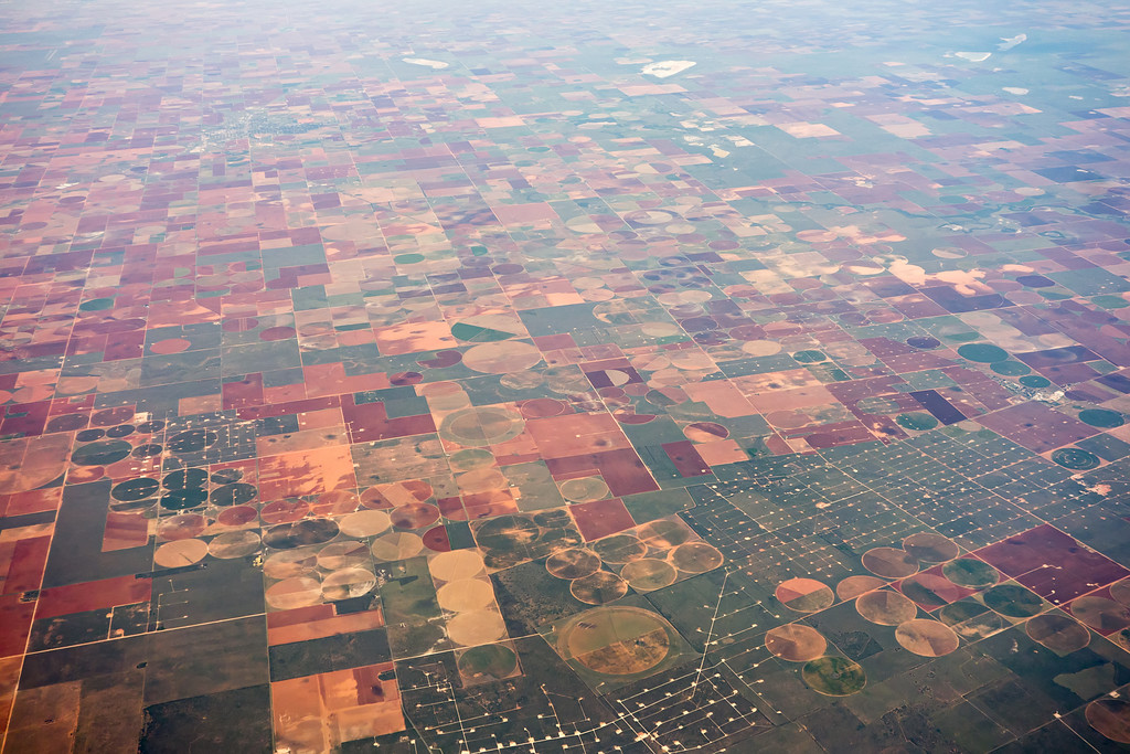 american farms and landscape from an airplane