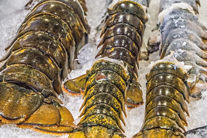 Lobster tails for sale at Pike Place Market in Seattle