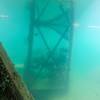 scuba diving underwater in deep quarry