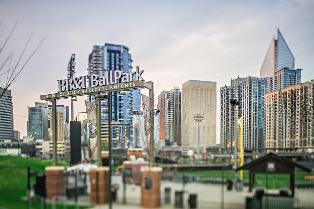 March 2017 Charlotte NC USA - BBT Baseball ballpark stadium early morning before baseball season in spring