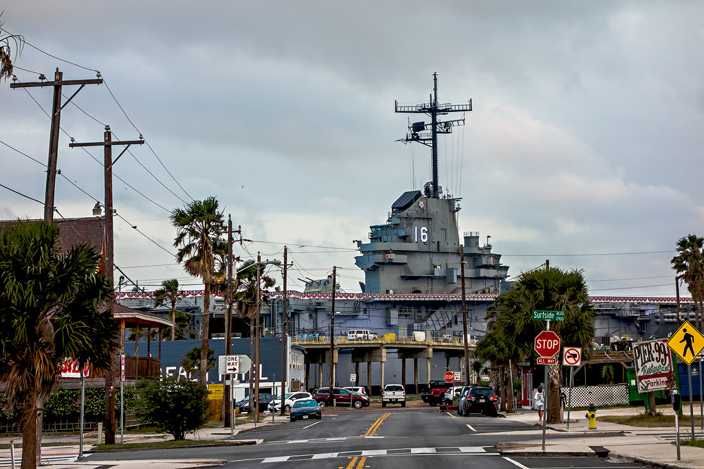 CORPUS CHRISTI, TEXAS, USA - April, 2017 - Aircraft carrier USS Lexington docked in Corpus Christi