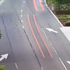 motorway road sign markings during morning commute