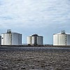 industria oil storage tanks on the water front
