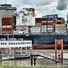 April 2017 New Orleans USA - Maerks cargo ship passing through New Orleans on Mississippi River.