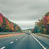 driving on highway through virginia in autumn season