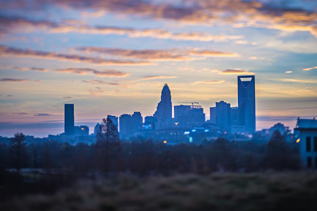 dusk and dawn over charlotte north carolina