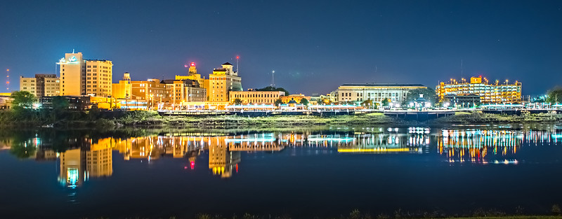 monroe louisiana city skyline at night