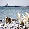lighthouses and buoys on coast near cleveland ohio lake erie