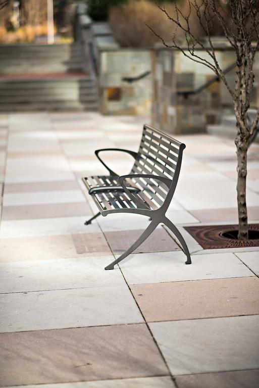 empty bench in city park