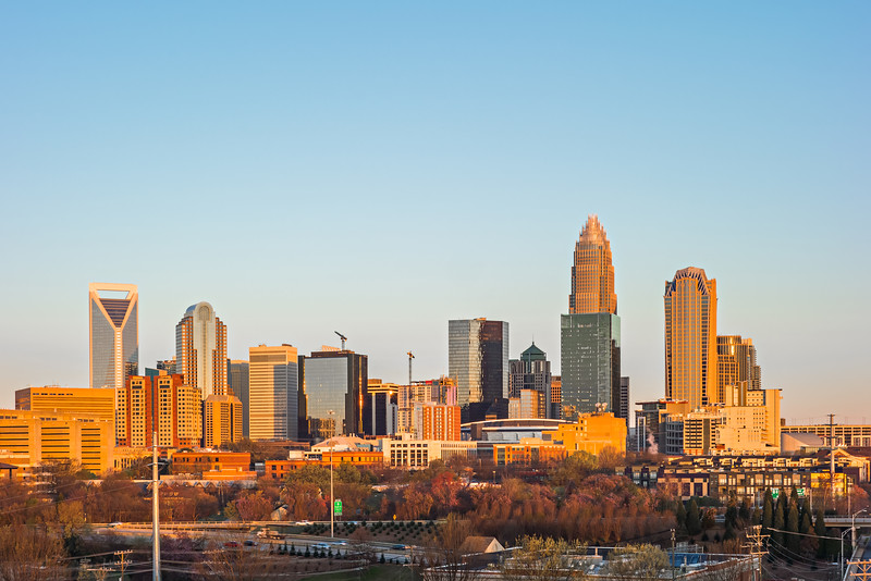 Charlotte north carolina early morning sunrise in spring