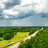 thunderstrom forming clouds and beautiful country landscape in york south carolina