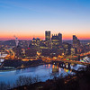 the pittsburgh city skyline at sunrise in pennsylvania