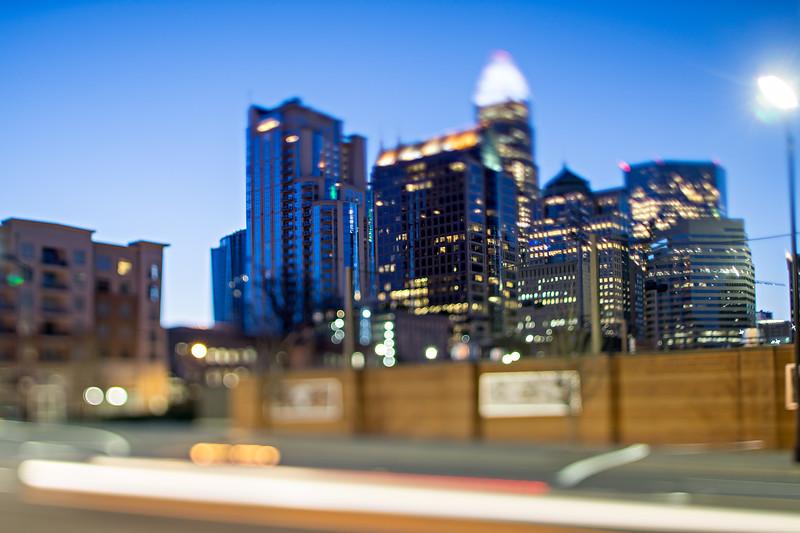 charlotte north carolina morning skyline with tilt effect by lens