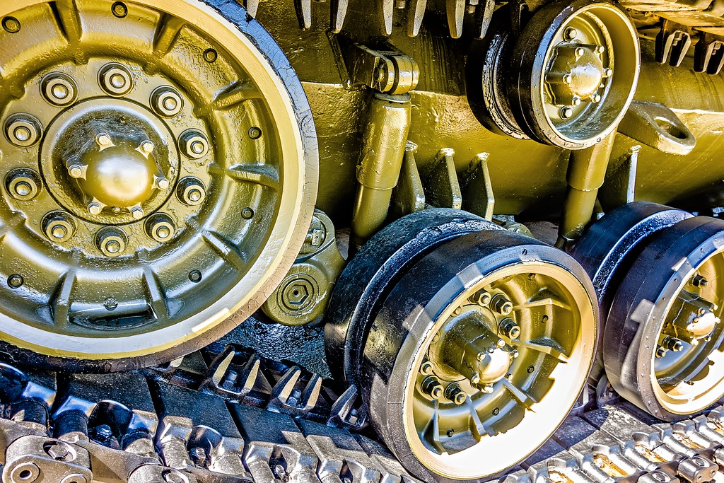 closeup of an army tank parts