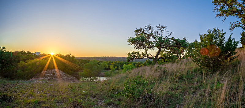 landscapes around willow city loop texas at sunset