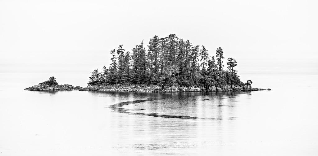 lonely island  in alaska bay
