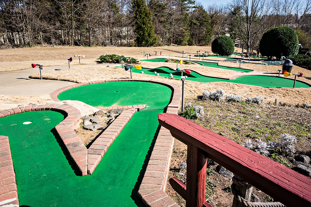 sunny weather at mini golf course
