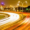 san antonio texas cityscape skyline and traffic commute at night