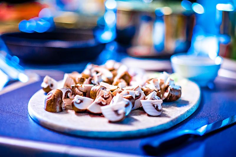 diced and sliced mushrooms on table