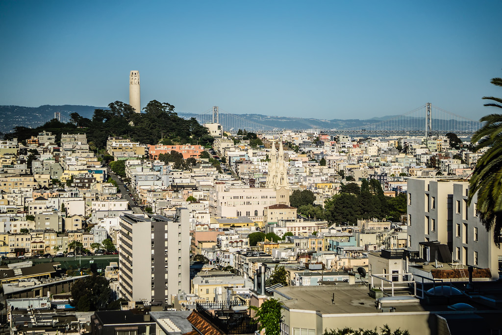 top city views from lombard street in san francisco california