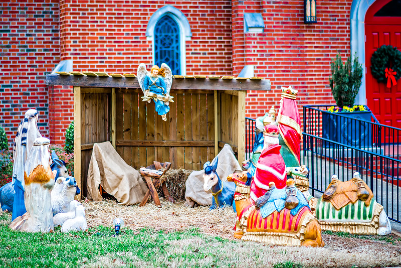 nativity set in front of church