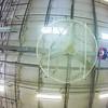 large industrial fan in a heavy industrial building