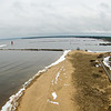 Manistique East Breakwater Lighthouse aerial in spring