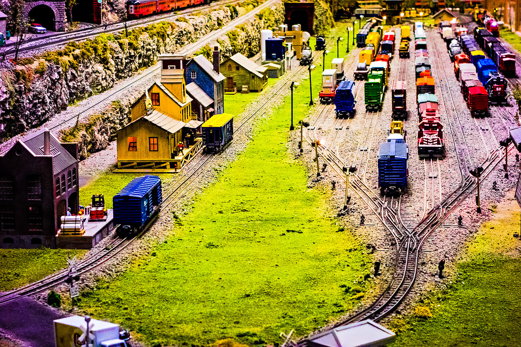 model train zooming by at museum