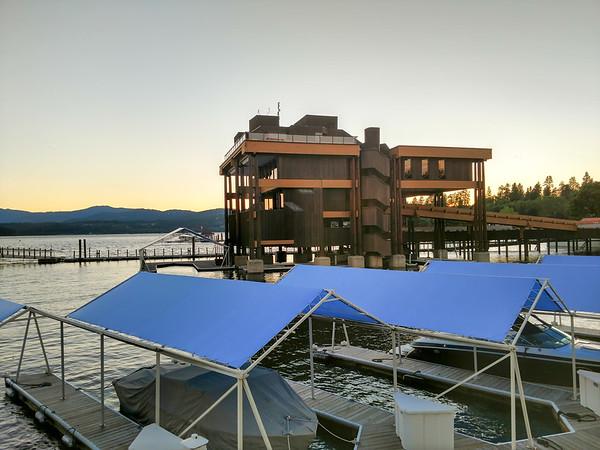 sunset over boat marina on lake coeur dalene