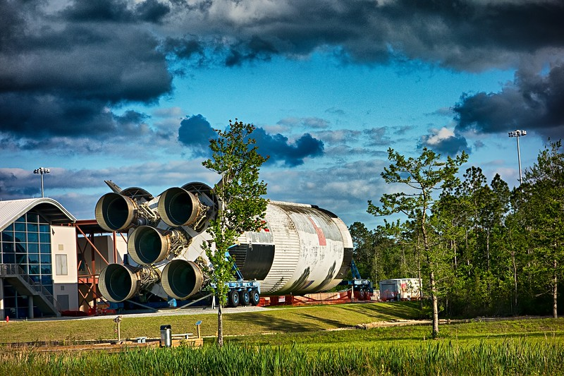 April 2017 Pearlington MS - INFINITY Science Center interactive exhibits and attraction near Rest area, view from highway.