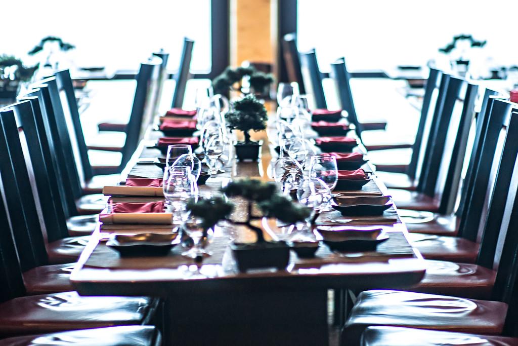 interior of fine luxurious dining room in restaurant