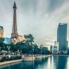 november 2017 Las Vegas, Nevada - evening shot of eiffel tower and vegas strip in las vegas nevada