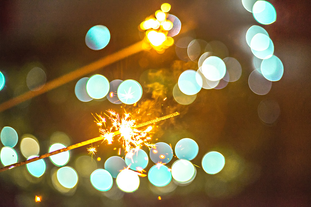 festive abstract sparklers lit up for celebration