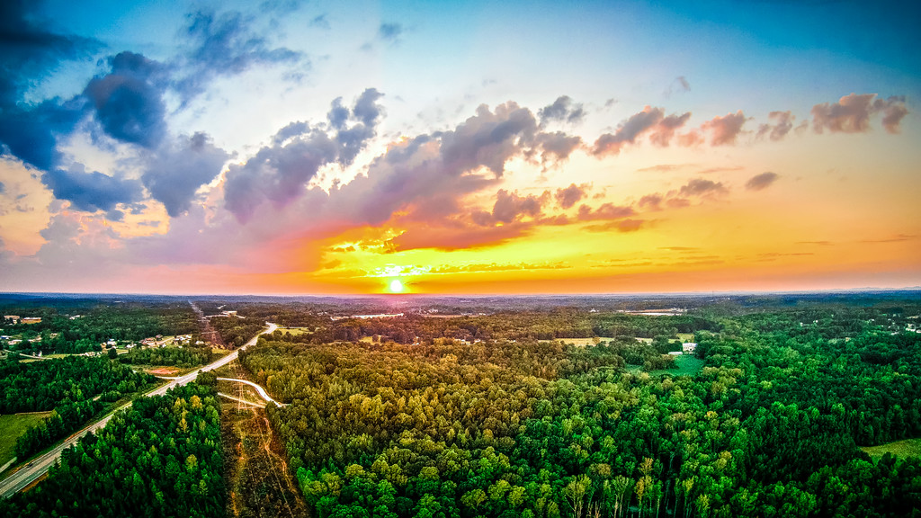 Aerial view over york south carolina at sunset
