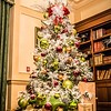decorated christmas tree in modern living room or office lobby