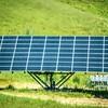 single solar panel making energy on sunny day