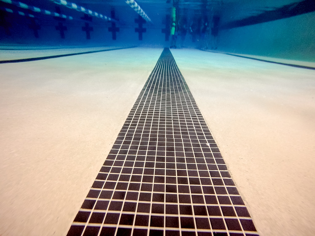 indoor swimming pool above and under water