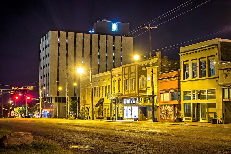 old historic jackson mississippi city street skyline at night