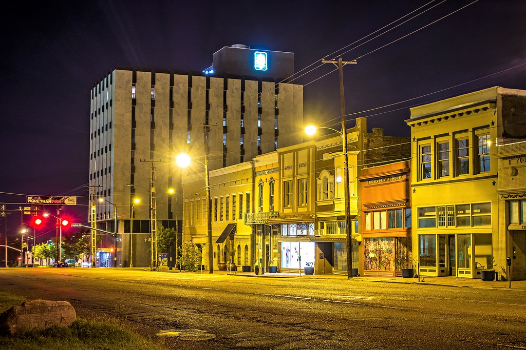 old historic jackson mississippi city street skyline at night